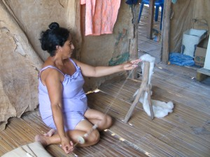 Trinidad spins cotton using a hand-held spindle and with whorl and a three-legged distaff to retain the yarn