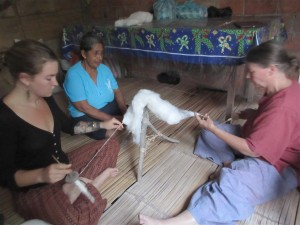 Amber and Janet become proficient spinners under doña Mariana's excellent tutelage.